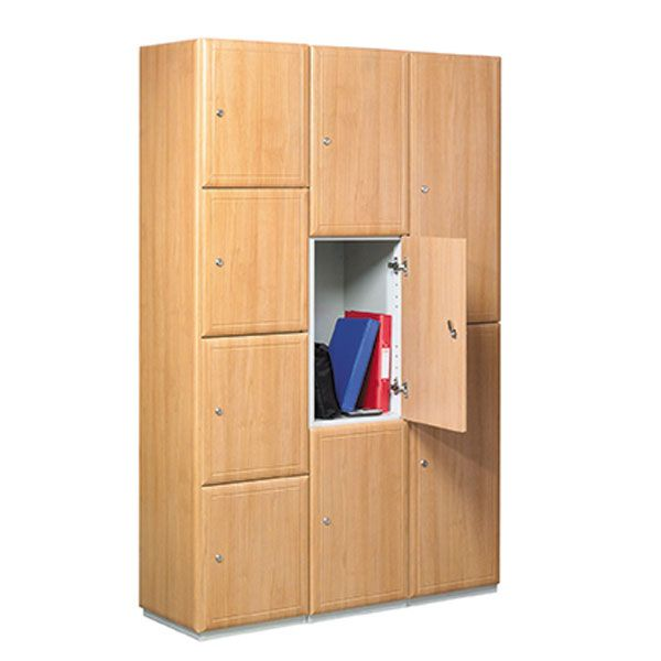 Wooden single door locker 3d lockers for Wood lockers with doors