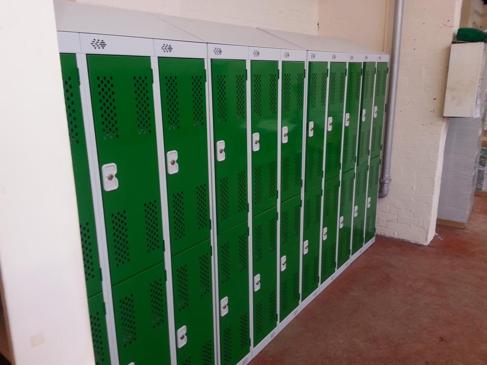 Two Door Lockers with Sloping Tops