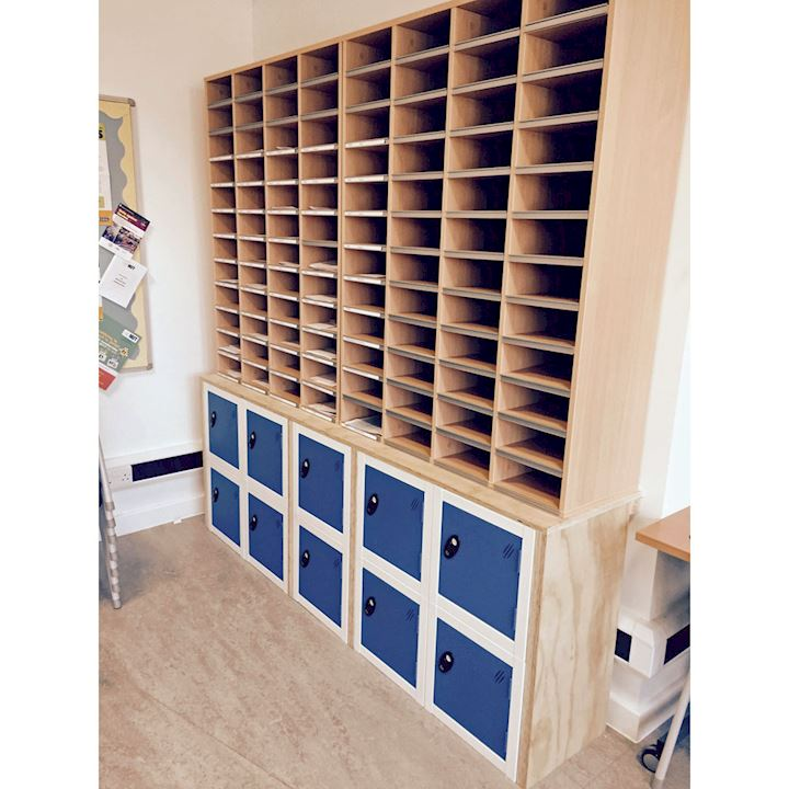 Cube Lockers fitted in bespoke wooden case at Julian's School