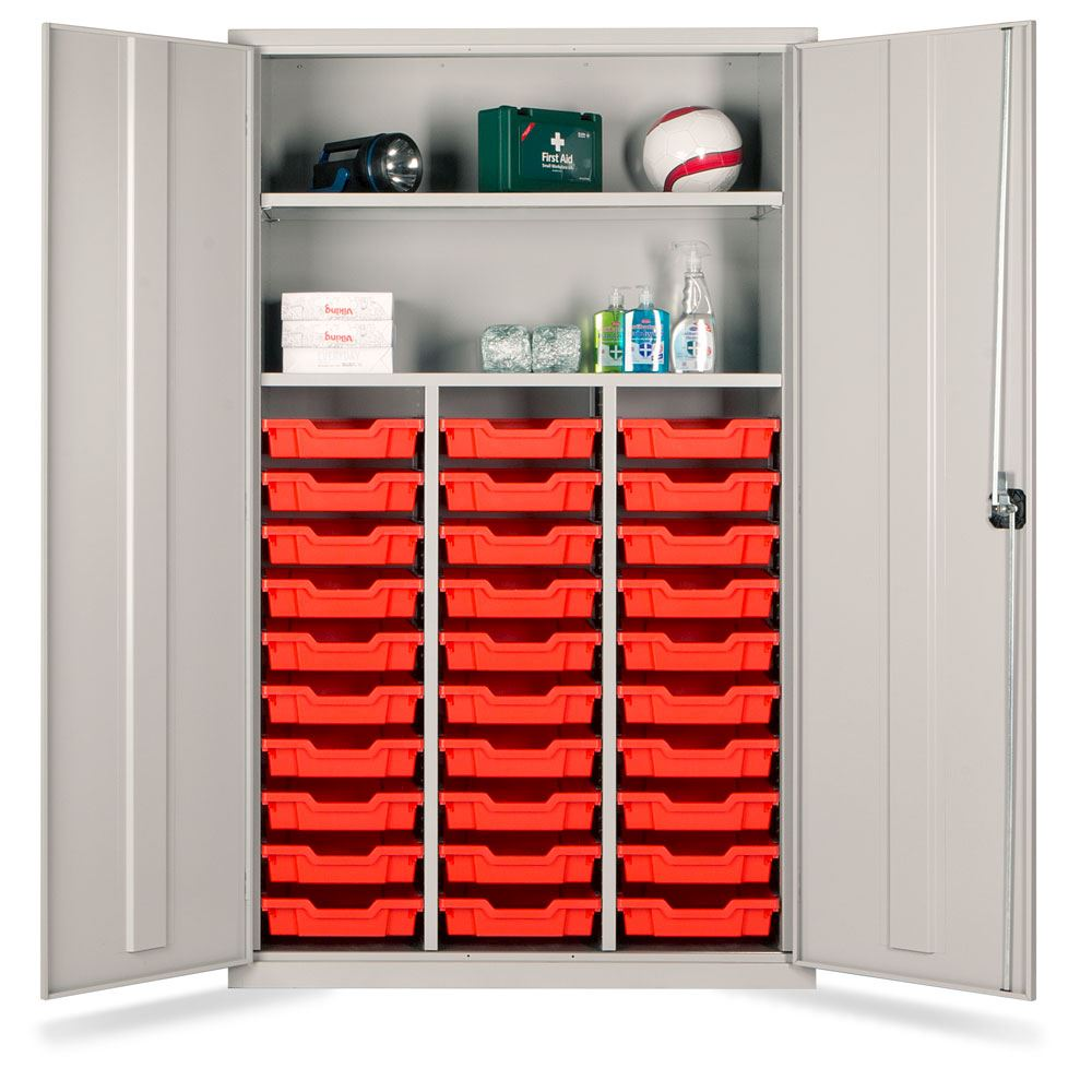 Teachers Metal Cupboard - Gratnell Storage with 30 Trays