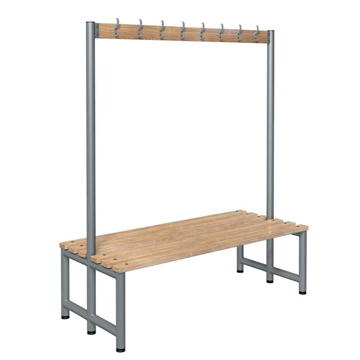 Round Tube Double Sided Hook Bench 1800mm H