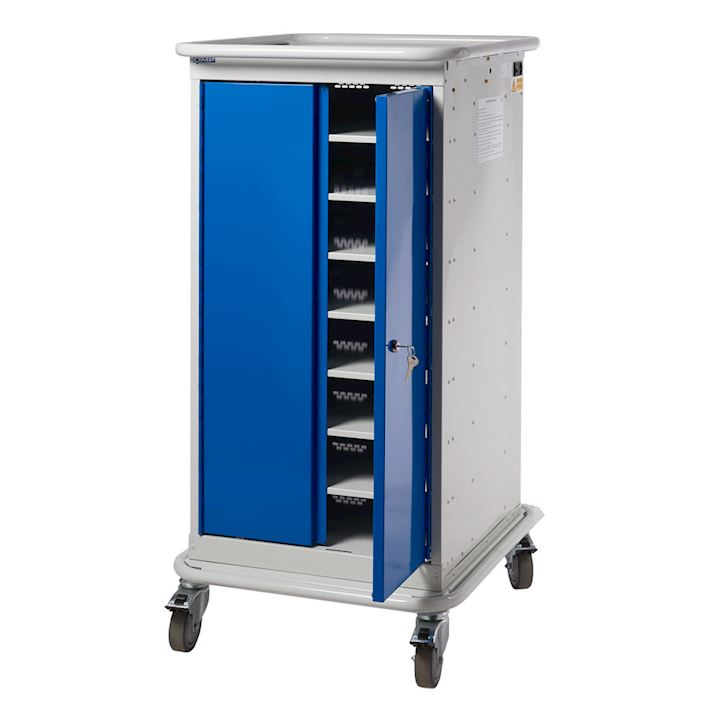 Narrow 2 Door Charging Laptop Trolley with 8 Compartments 1200H x 525W x 670D
