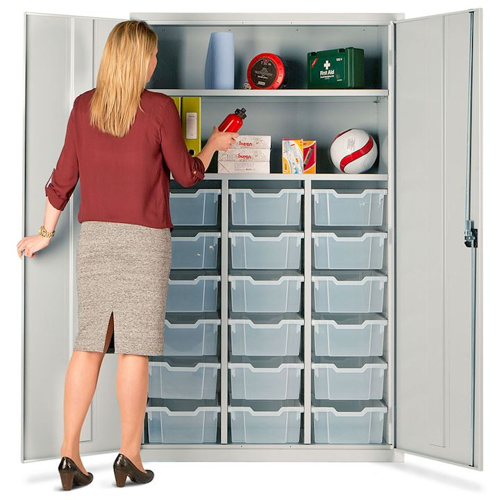 Teachers Metal Cupboard - Gratnell Storage with 18 Trays
