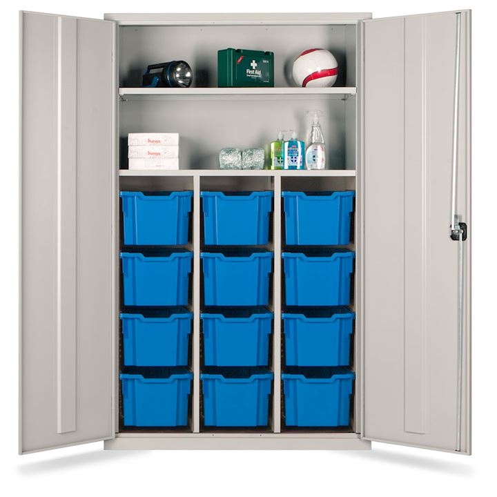 Teachers Metal Cupboard - Gratnell Storage with 12 Trays