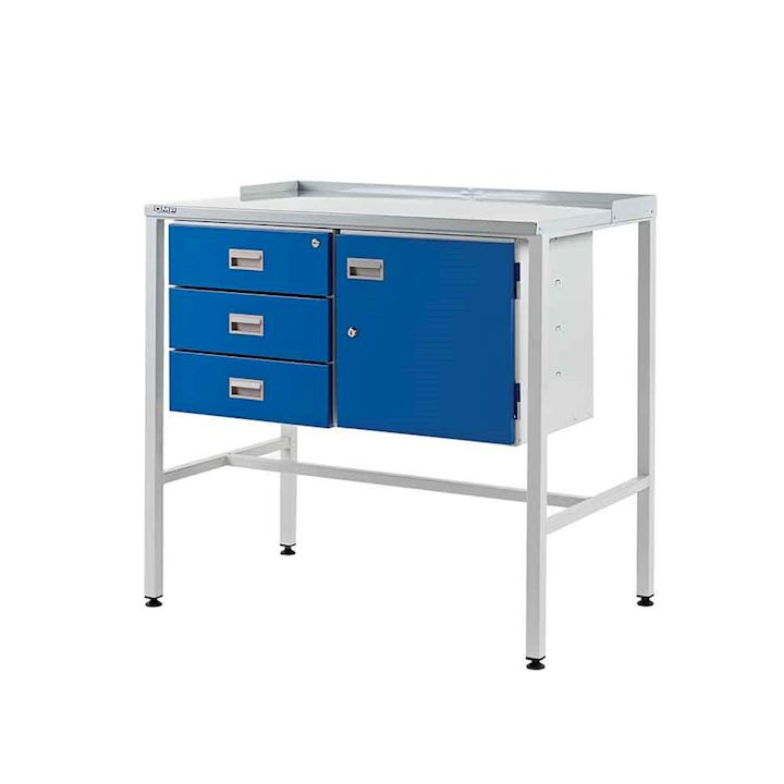 Team Leader desk with Flat Top, Triple drawer and Cupboard - 920h