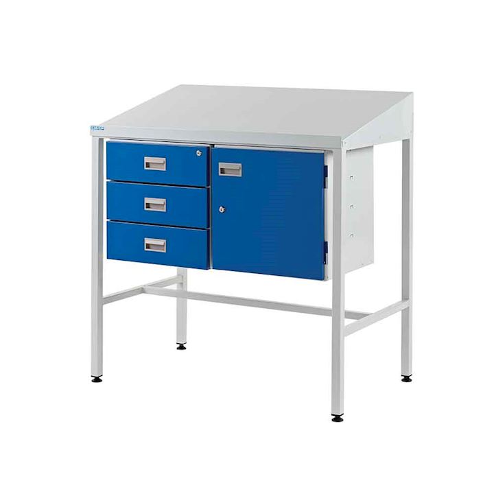 Team Leader desk with Sloping Top, Triple drawer and Cupboard - 920h