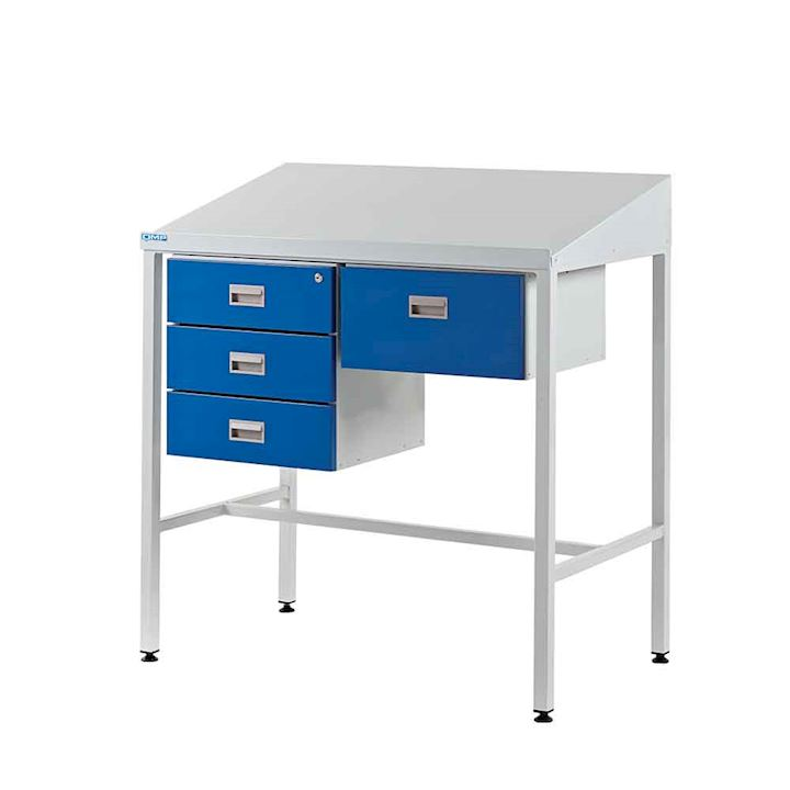 Supervisor Workdesk with Sloping Top, Triple Drawer + Single Drawer - 1060mm H