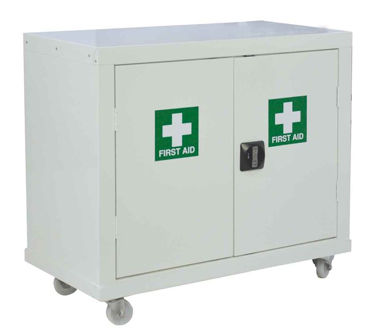 White First Aid Mobile Cupboard 1040 x 900 x 460