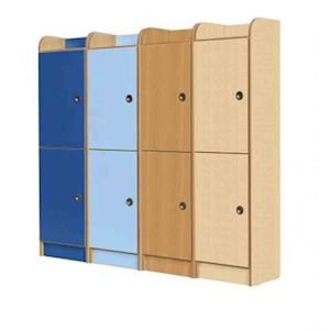 Rainbow laminate kclock2 2 door locker 1500mm 3d lockers for Wood lockers with doors